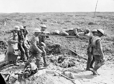 Stretcher Bearers Bringing in Wounded at Vimy Ridge