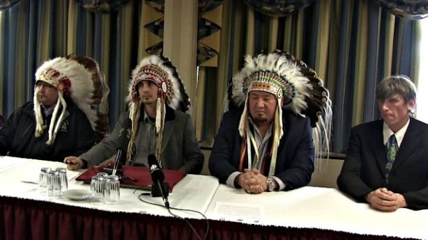 April 4, 2013, Winnipeg: At a news conference announcing opposition to HudBay's Reed Lake Mine - (l-r) Grand Chief David Harper, Manitoba Keewatinowi Okimakanak, Chief Arlen Dumas, Mathias Colomb Cree Nation, Grand Chief Derek Nepinak, Assembly of Manitoba Chiefs and Eric Reder, Wilderness Committee. Photo: Paul S. Graham