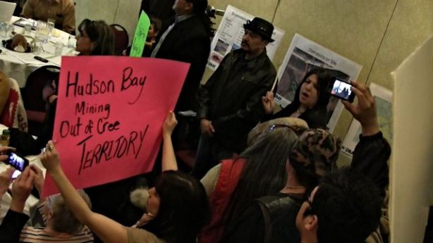 April 4, 2013, Winnipeg: Opponents of the Reed Lake Mine in northern Manitoba confront HudBay Mineral's officials. Photo: Paul S. Graham