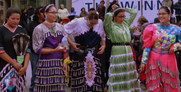Winnipeg, Oct. 12, 2013: Jingle dancers ready themselves to welcome the UN Special Rapporteur on the Rights of Indigenous Peoples. Photo: Paul S. Graham