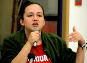 Winnipeg, Feb. 17, 2014: Suzanne Patles of the Mi'kmaq Warriors Society, speaking at at Thunderbird House. Photo: Paul S. Graham