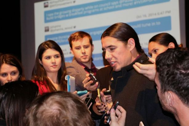 Winnipeg, Oct. 16, 2014: Robert-Falcon Ouellette speaks with students following a forum on youth issues at the Winnipeg Art Gallery. Photo: Paul S. Graham