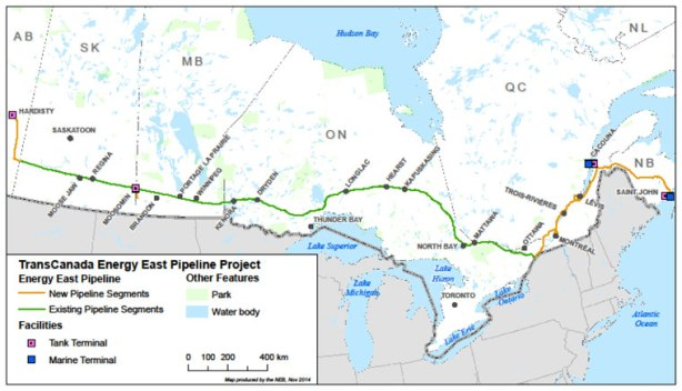 Map of Proposed Energy East Pipeline route. Source: National Energy Board